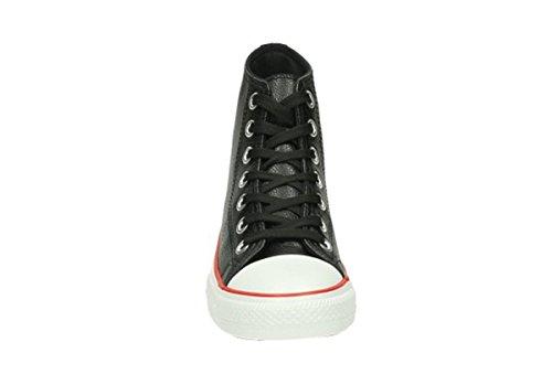 Jumex Herren Schuhe Schnürschuhe High Sneakers hoch Boots Vintage schwarz weiß Schwarz