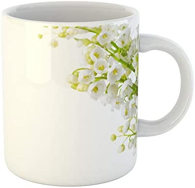 Emvency Coffee Tea Mug Gift 11 Ounces Funny Ceramic Lily Lilies of the Valley Selective Focus Flower White Gifts For Family Friends Coworkers Boss Mug