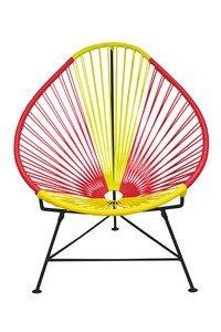 Innit Designs i01-01-23 Acapulco Chair Spain Weave on Black Frame, USA White (Toronto Frames Chair)