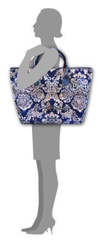 VOYAGER ELITE D'cor Navy - Grande e largo di stile dell'annata tappeto Tote borsa con manici in pelle e cerniera