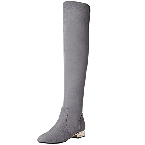 Women Boots Grey Winter Knee Long Autumn High Pull KemeKiss On Casual PUdWqw66