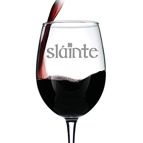 Slainte - Irish Cheers - Funny St Patricks Day Party Wine Glasses - Saint Patty's Decorations -