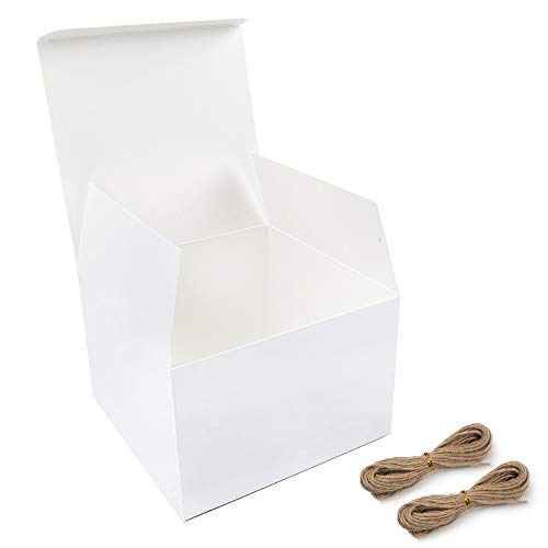Moretoes White Boxes Gift Boxes 15 Pack 6x6x4 inches, Paper Gift Boxes with Lids for Gifts, Birthday, Party, Crafting (Six Gift Pack Box)