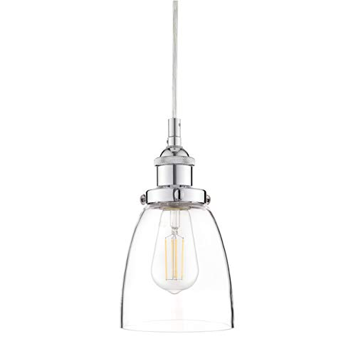 Fiorentino Chrome Pendant Light - w/ Clear Glass Shade - Linea di Liara LL-P281-PC