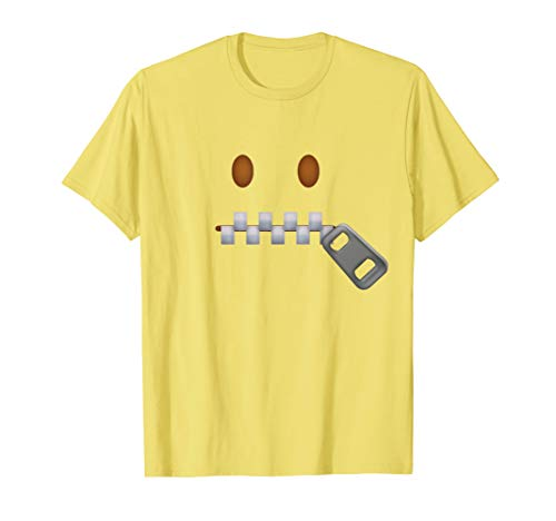 Zipper-Mouth Face Emoticon Costume T-Shirt for Halloween ()
