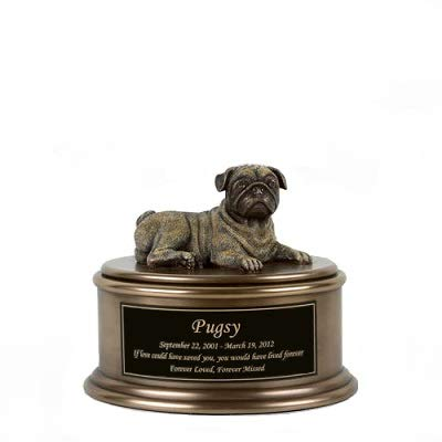 Perfect Memorials Custom Engraved Pug Figurine Cremation Urn