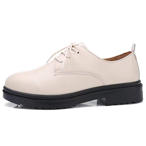 Encaje otoño Zapatos Femeninos Cuero Zapatos de conciso Primavera Derby Beige Pisos Casual Mujeres wtqpIf