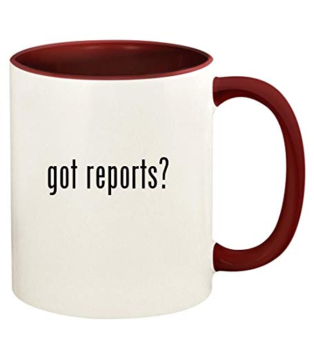 got reports? - 11oz Ceramic Colored Handle and Inside Coffee Mug Cup, Maroon (Consumer Reports Best Microwave 2019)