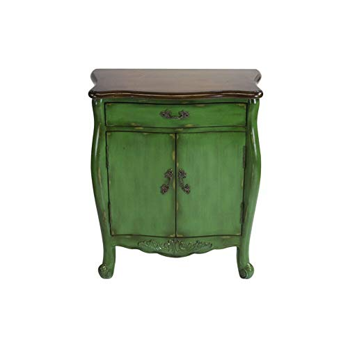 (Ophelia & Co. Green Hand Painted 1 Drawer Accent Birch Cabinet with Elegant Baroque Legs + Free Basic Design Concepts Expert Guide)