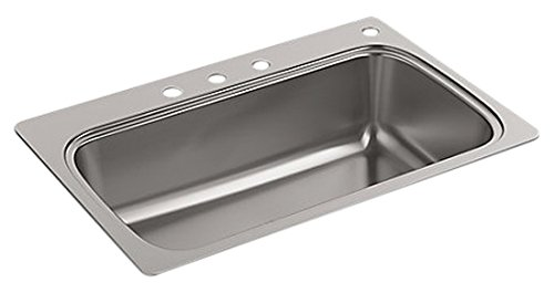 Kohler K-20060-4-NA Verse 33 inch x 22 inch Drop-In single Bowl Kitchen Sink with Four Faucet Holes; Stainless steel