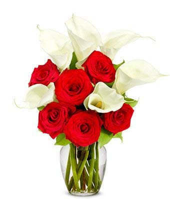 - Flower Delivery - Red Rose & Calla Lily Bouquet - Premium (FREE Vase Included)