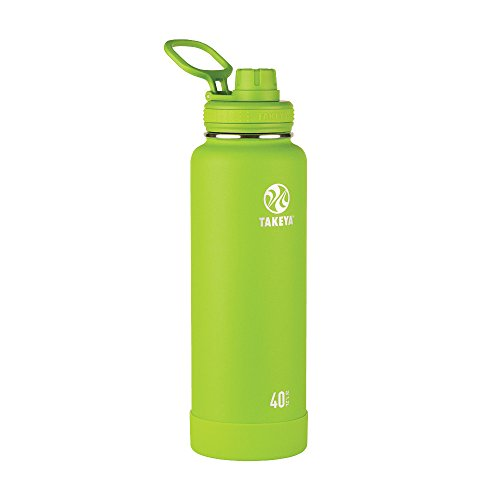 Takeya Actives Insulated Stainless Water Bottle with Insulated Spout Lid, 40oz, Lime