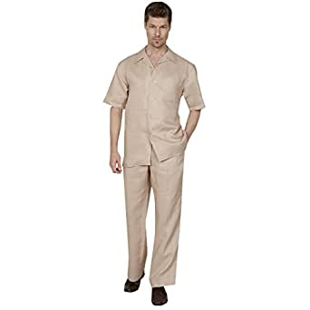 Mens Casual 100% Linen Suit with 1-button Classic Pocket Regular Pocket, Natural S 30/32