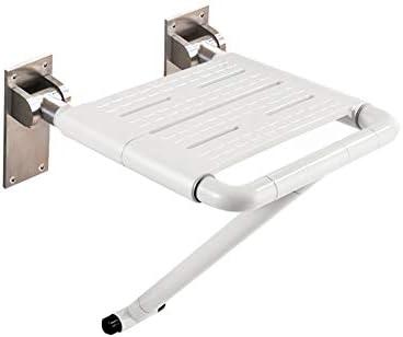 シャワー座椅子プラスチック製人間工学ベース遊歩道議長タブ安全スツール、浴室の座席保存スペースを折りたたみ壁面マウントは、高齢者、障害者、肥満や負傷のために使用することができます (Color : 白, Size : B)