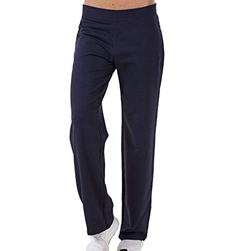 Price comparison product image kemilove Ladies Cotton Stretch Tracksuit Bottoms Sports Gym Straight Leg Joggers Pants Dark Blue