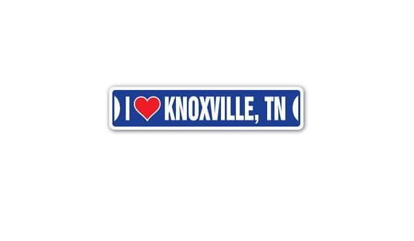 Amazon com i love knoxville tennessee custom sticker decal wall window door art vinyl street signs 8 25 x 2 0 automotive