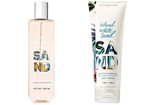 Bath and Body Works Island White Sand Fragrance Mist Spray and Cream Set Of 2 Full Size Items 8 Ounces each