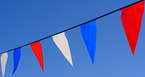 Track & Field Flags. Colorful red, White, and Blue pennants. 100 feet in Length. Long Lasting Durability. A Great Value. 5 Year -