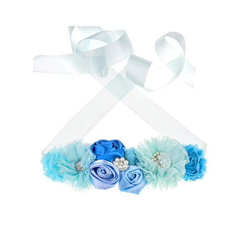 (Floral Fall Flower Maternity Pregnancy Sash Baby Shower Gift Photo Prop Girls Bridal Rhinestone Belt SH-19 (Sky Blue))