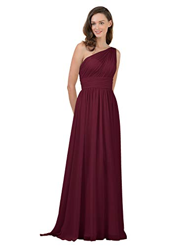 Alicepub One Shoulder Bridesmaid Dress for Women Long Evening Party Gown Maxi, Burgundy, US2