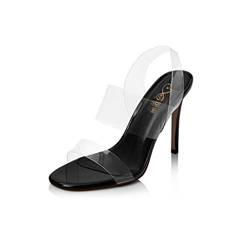 Heels Heeled Black Fashion Transparent Open Heels Sexy Thin Sandals High Women's High CJC Shoes High Toe Heels HBUqUw