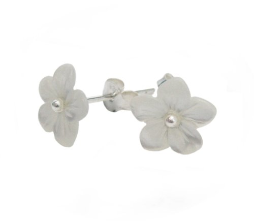 Carved Flower Cultured Mother of Pearl Sterling Post Earrings, White