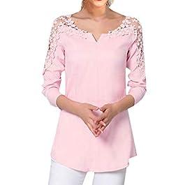 Toamen Women's Top Shirt Jumper Pullover Sale V Neck Cold Shoulder Long Sleeve Lace Splice Casual T-Shirt Blouse Plus…