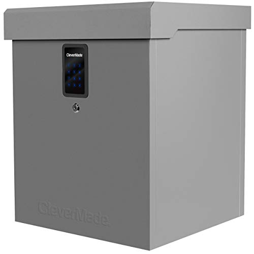 CleverMade Parcel LockBox S100 Series: Secure Package Delivery Box with Reinforced Steel Construction, Digital Lock & Ground Anchoring System For Online Shopping Deliveries, Grey