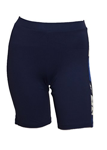 (Private Island Hawaii UV Women Rash Guard Skinny Shorts Pants (X-Large, Navy with Blue)