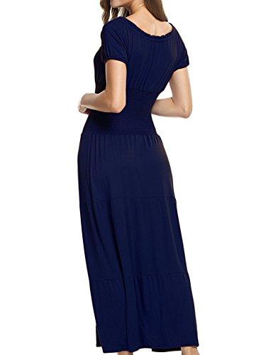 Meaneor Femme Bateau Sexy Robe Marine paule Pliss lastique Robe Solide Nu Bleu Maxi Col C4qRC5