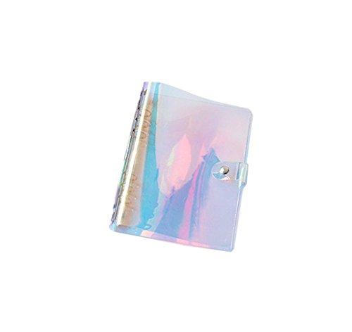 Iridescent Shell - Iridescent Hologram Loose Leaf Notebook Paper Refill Folder 6-Ring Clear Soft Transparent PVC Binder Planner Agenda Shells (A5 with Paper, Iridescent)