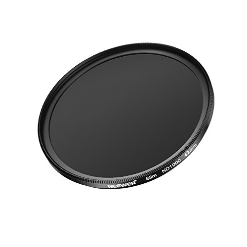 Neewer Slim 62MM Neutral Density ND 1000 Camera Lens Filter 10 Stop Optical Glass and Matte Black Flame for Lens with 62MM Thread Size