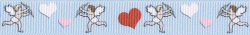 Country Brook Design 7/8 Inch Valentine's Cupid's Hearts Grosgrain Ribbon Closeout, 10 Yards by Country Brook Design