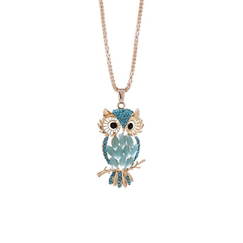 Fashion Crystal Owl Necklace, Nice Accessories, Wonderful Gift, Unpara Retro Antique Alloy With Rhinestone (Blue 1)