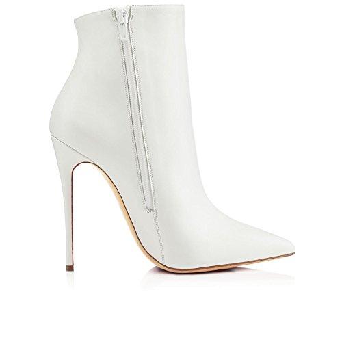 ... EDEFS Damen 10cm Spitze Zehen Stiletto Kurzschaft Stiefel  Reißverschluss High Heels Boots Schuhe Weiß ... 0f8d85a63b