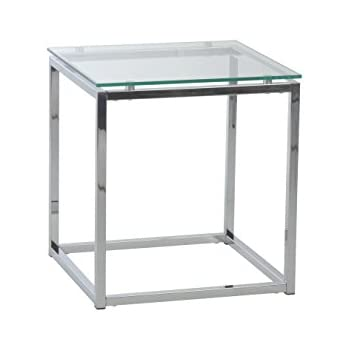 Awesome Euro Style Sandor Clear Glass Top Side Table, Chromed Steel Base