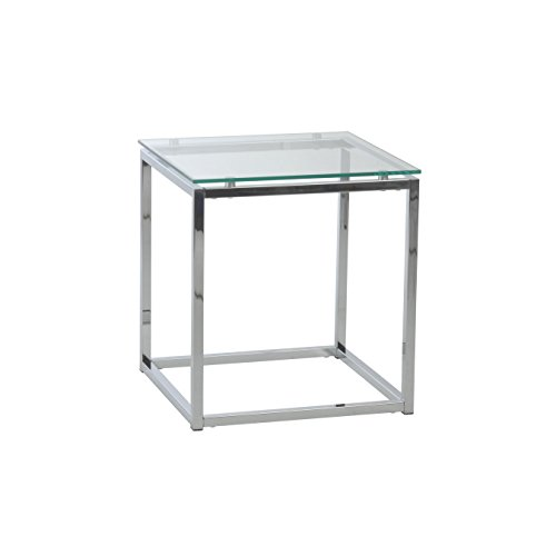 Euro Style Sandor Clear Glass Top  Side Table, Chromed Steel - Table Chrome Square