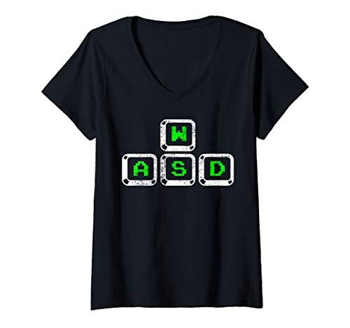 Womens Keyboard Keys PC Computer Video Gaming Gamer Science Code V-Neck T-Shirt