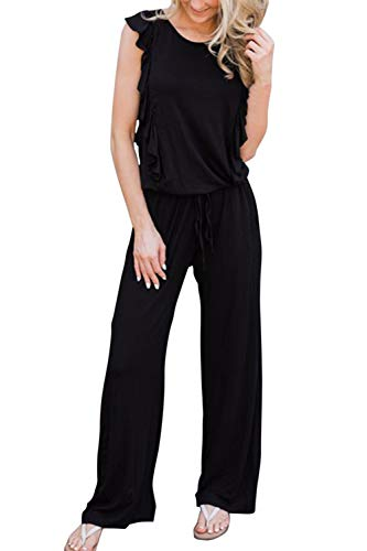 (Fixmatti Women Sleeveless Solid Elastic Waist Loose Ruffles Jumpsuit Black 2XL)