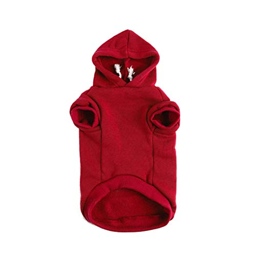 uxcell Pet Dog Hooded Hoody Sweatshirt Clothes Cotton Apparel Puppy Cat Winter/Spring/Fall Costume Outfits Fleece Warm Coat Red ()