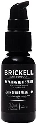 Brickell Men's Anti Aging Repairing Night Serum for Men, Natural and Organic Vitamin C Face Serum to Repair Damaged Skin Cells, Diminish Wrinkles and Fight Inflammation, 1 Ounce, Scented
