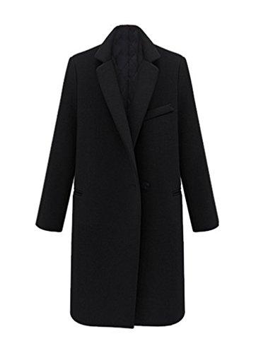 Manteau Manteau Noir Femme de Slim Chaud d'hiver longues manches Jacket Trench Mlange Faux Casual laine dxqUpx06