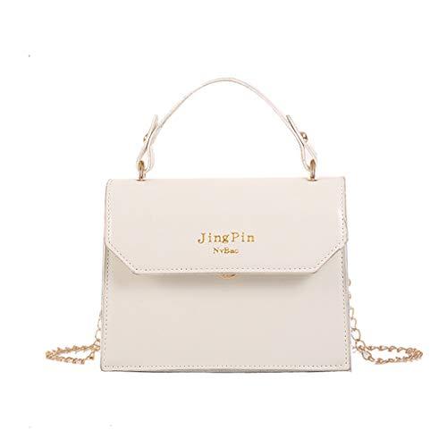 Women Texture Shoulder Bag Messenger Small Square Bag Bucket Bag (White)
