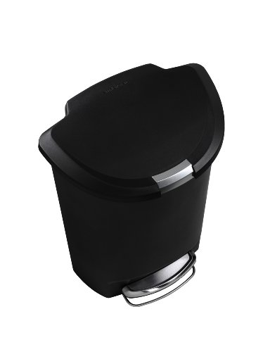 simplehuman 50L-Liter / 13-Gallon Semi-Round Step Trash Can, Black Plastic