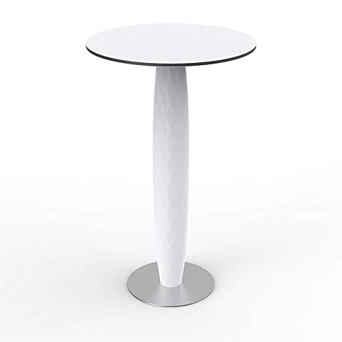 Vondom Vases high Table 100 cm with Stainless Steel Base and Round top HPL diam.24 in. White