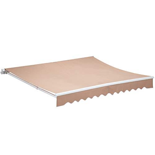 Uenjoy 6.5 x 8.2 Patio Awning Manual Retractable Window Door Outdoor Sunshade, Beige