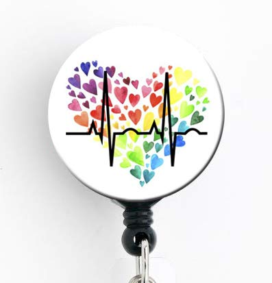 (Rainbow Heart EKG - Retractable Badge Reel with Swivel Clip and Extra-Long 34 inch Cord - Badge Holder/LGBT/Pride/Nurse)