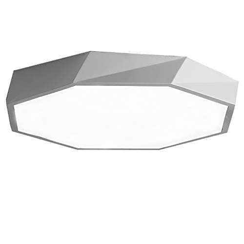 (Ganeed 24W 12-Inch LED Ceiling Lights,Flush Mount Lighting Fixture Creative Geometric Shaped, 6500K Cool White Ceiling Lighting for Dining Room Hallway Living Room Kitchen Bedroom Porch Office, White)