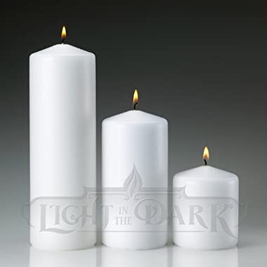 Set of 3 White Pillar Candles 3x3 3x6 3x9 Made In USA