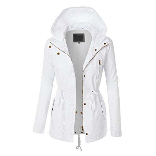 Spring Color  Women's Solid Long Sleeve Hoodie Jacket Quilted Zip Up Drawstring Coat Outwear with Pocket White
